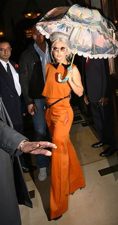 Lady Gaga wears a colorful gown during a press conference before her show in New Delhi, India, October 28, 2011.
