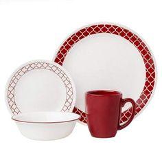 Livingware Crimson Trellis 16 Piece Dinnerware Set, Service for 4 Corelle Dinnerware Sets Walmart, Dinnerware Sets For 12, Square Dinnerware Set, Casual Dinnerware, Dinnerware Ideas, Modern Dinnerware, Corelle Plates, Tableware, Corelle Dishes