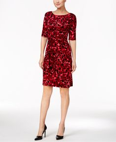 Connected Petite Dot-Print Faux-Wrap Dress - Dresses - Women - Macy's