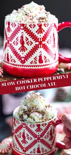 Chocolate Shavings, Hot Chocolate, Bubble Bar Recipe, Winter Parties, Peppermint Candy, Seasonal Food, Vegetarian Chocolate, Cocoa, Slow Cooker