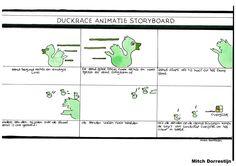 Dit is mijn storyboard voor de animatie op mijn website, de animatie gaat als volgt: 1-er gaat een eend van rechts naar links, vervolgens gaat de eend sneller en word het groter. De eend kantelt en er komen 2 andere eenden van de grote eend afglijden, vervolgens vallen die 2 eendjes op de grond en springen daar in het rond totdat het logo van Landschap Overijssel en het logo van het CIBAP verschijnen.