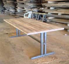 Antique Oak Table | Black Iron Trestle Base