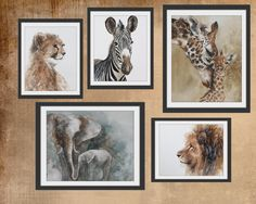 nursery art print Safari Nursery PRINT SET watercolor painting watercolour african wall hanging boy girl zebra giraffe cheetah lion elephant