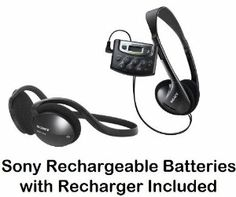 """Sony Walkman Digital Tuning Palm Size AM FM Stereo Radio with Weather Band, 20 Station Preset Memory, DX Switch for Exceptional Reception, Belt Clip, Over the Head Stereo Headphones, Sport Style Behind the Neck Headphones & Sony Rechargeable Batteries with Recharger by Sony. $49.95. Weather Band Tuning FunctionLets you listen up-to-the-minute weather from your local weather band broadcasts.1 """"AAA"""" Battery OperationProvides hours of listening and helps to make the Walkman radio co..."""