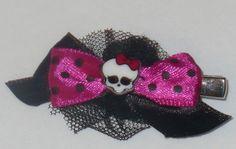 Monster High Dolls Hair Bow Alligator Clip Skull/Skullette Polka Dot. Etsy.