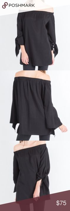 Avery Off-Shoulder Tie Blouse Dovetail sleeves can be tied up or left loose.  Wear it for date night with a pair of slim trousers, or with denim for a casual weekend day.  Elastic neckline for a comfortable fit around the shoulders. Modern Citizen Tops