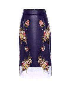 Alexander McQueen | Blue Glove Leather Floral Skirt | Lyst