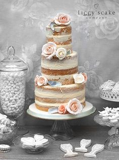 Naked Victoria Wedding Cake with polished buttercream finish and peachy sugar roses. Liggy's Cake Company - special handmade cakes