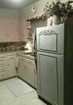 Inspired by Victoria at Trois Petites Filles: Old Fridge Turned Shabby French blog!  I loved the fridge so much I took the look over to my cabinets!  I made my own DIY chalk paint using baking soda, water & Anita's Acrylic Craft Paint from Hobby Lobby