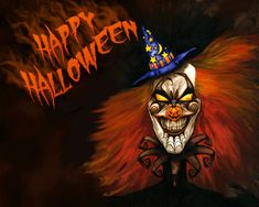 """Ready to go for """"Trick or Treat"""" in your Halloween costume? Gift this Halloween wallpaper HD to your friends who are going to accompany you on this Halloween night. Halloween Clown, Scary Halloween Images, Halloween Captions, Gruseliger Clown, Halloween Fotos, Happy Halloween Pictures, Scary Images, Fröhliches Halloween, Creepy Clown"""