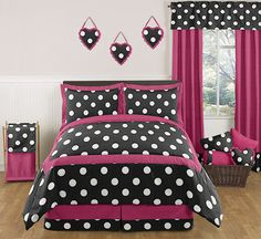The bold 'Hot Dot' bedding set by Sweet Jojo Designs will add an instant pop of color to your child's room. This designer set has a funky black and white large dot print paired with hot pink to add fierce style to your daughter's room. Girls Comforter Sets, Teen Bedding Sets, Teen Girl Bedding, Teen Girl Rooms, Kids Rooms, Girl Bedrooms, Tween Girls, Polka Dot Bedding, Pink Bedding