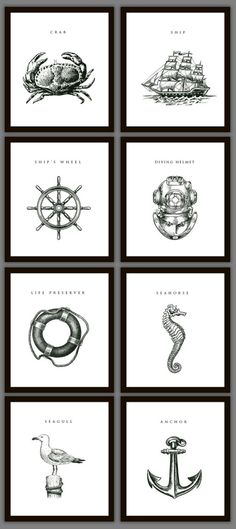 8 Nautical Home Decoration Art Prints. $28.00, via Etsy.: