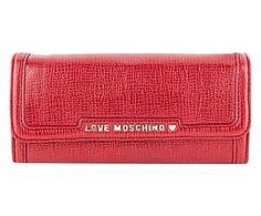 Portafoglio in pvc Saffiano rosso - 20x10x3 cm