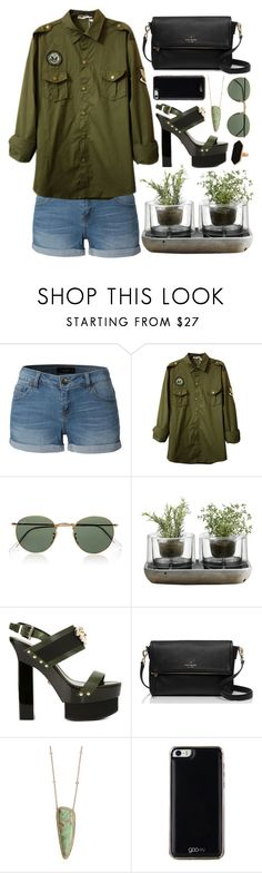 """""""Monday"""" by time-new-roman ❤ liked on Polyvore featuring LE3NO, Ray-Ban, Nude, Versace, Kate Spade, Jacquie Aiche, Gooey and Jaeger"""