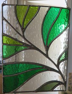 Summer Rain Beautiful Leaf Frond Stained Glass Suncatcher