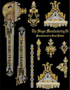 Decals for Singer 27 127 Class Sphinx Style  Restoration - Waterslide Transfer - Multi Color