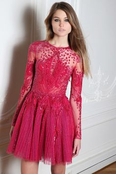 @roressclothes clothing ideas #women fashion pink lace dress Zuhair Murad Fall 2014-2015 Collection