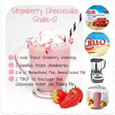 may also use the NEW Strawberry Shakeology in place of the Vegan Tropical Strawberry!You may also use the NEW Strawberry Shakeology in place of the Vegan Tropical Strawberry! 310 Shake Recipes, Herbalife Shake Recipes, Protein Shake Recipes, Smoothie Recipes, Protein Shakes, Protein Smoothies, Fruit Smoothies, Herbalife Meals, Milkshake Recipes