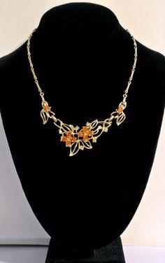 Vintage Topaz Rhinestone Flower Necklace