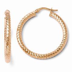 Leslie's 14k ForeverLite Rose Gold Polished and Textured Earrings