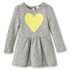 Infant Toddler Girls Long Sleeve Striped Heart Dress - Heather Grey