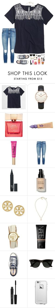 """""""Sorry I haven't posted in a while!"""" by hopemarlee ❤ liked on Polyvore featuring J.Crew, Topshop, Kate Spade, Urban Decay, Too Faced Cosmetics, J Brand, Bobbi Brown Cosmetics, Tory Burch, Kendra Scott and NARS Cosmetics"""