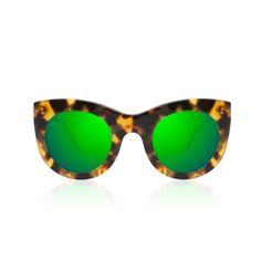 Boca Tortoise With Green Mirrored Lenses, Illesteva $220