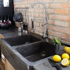 black stone sink and faucet I love! Miss my old sink. Pine Kitchen, Wooden Kitchen, Rustic Kitchen, Vintage Kitchen, Kitchen Sink Units, Best Kitchen Faucets, Old Sink, Brown Kitchens, French Kitchens