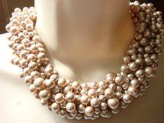 Swarovski Crystal Powder Almond Pearl Chunky Cluster by NickyeCole, $220.00