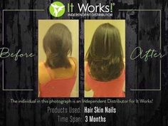 WOW! look at these awesome results taking It works Hair Skin & Nails for 3 months.  Call or text 520-840-8770 http://bodycontouringwrapsonline.com/hair-skinnails
