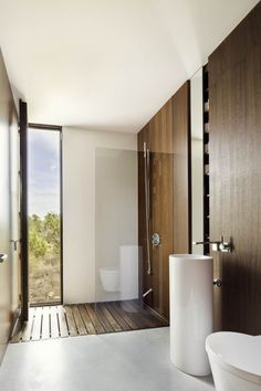 Wood wall and floor bathroom