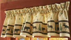 Bear, Moose, and Evergreen Woodland Curtain Valance