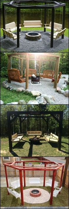 Love relaxing around a fire and also like the occasional gentle swing? This fire pit swing set combination is for you! These fire pit swing sets allow you to enjoy a gentle swing, and keeps you warm during cold nights. Fire Pit Swings, Diy Fire Pit, Fire Pit Backyard, Backyard Patio, Backyard Landscaping, Backyard Swings, Wedding Backyard, Outdoor Swings, Landscaping Design