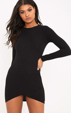 Idda Black Long Sleeve Wrap Skirt Bodycon Dress