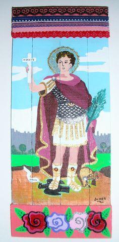 """San Expedito"" Acrílico sobre maderas recicladas con detalles de puntillas de ""Reina Mandy Arte Reciclado. inforeinamandy@gmail.com"