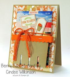 """When I was stamping at Cindee's house last week, she was SO kind to give me a sweet gift and a handmade card. today I'm sharing that card with you! She used the Berry Basket Big Shot die """"flat"""" on the front of the card! See her tutorial here! Berry Baskets, Envelope Punch Board, Card Tags, Greeting Card, Card Making Tutorials, Wood Stamp, Paper Basket, Seed Packets, Stamping Up"""