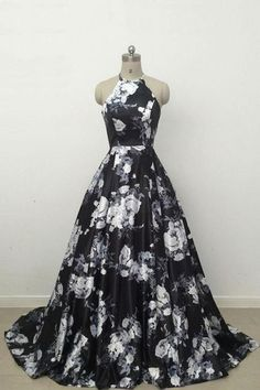 Prom Dress Princess, Simple Black Long Prom Dress,Cute black and white floral satin halter prom dress Shop ball gown prom dresses and gowns and become a princess on prom night. prom ball gowns in every size, from juniors to plus size. Prom Dress Black, Black Evening Dresses, Evening Gowns, Dress Prom, Black And White Ball Dresses, Halter Dress Formal, Black And White Prom Dresses, Black White, Dress Lace