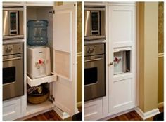 Water Cooler Tucked Behind Wood Cabinets Hidden Filtered