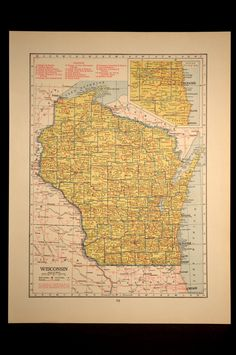 Map Wisconsin Map Railroad Vintage State 1940s Yellow 1943