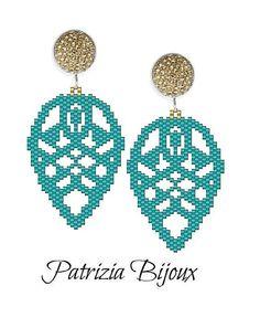 Peyote Beading Patterns, Bead Crochet Patterns, Beaded Earrings Patterns, Bracelet Patterns, Weaving Patterns, Crochet Earrings, Tutorial Punto Peyote, Earring Tutorial, Seed Bead Tutorials