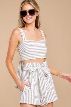 Trendy Striped Two Piece Set - Cute Two Piece Set - Set - $66.00 – Red Dress Boutique