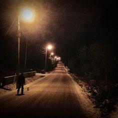 Kuvassa on talvinen pitkä tie, jonka varrella on katulamppuja. Sen ympärillä on pilkkopimeä. Takaapäin kuvattuna tien reunassa kulkee tumma ihmishahmo taluttaen pientä koiraa. Kuva ei liity postaukseen. Jan Holmberg Mainio -blogi www.janholmberg.weebly.com Copyright Jan Holmberg