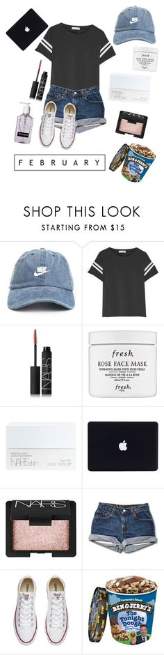 """""""February Vibes"""" by miabell22004 ❤ liked on Polyvore featuring rag & bone, NARS Cosmetics, Fresh, Converse, converse, NARS, vibe and dadhat"""