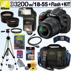 Nikon D3200 24.2 MP CMOS Digital SLR Camera (Black) with 18-55mm f/3.5-5.6 AF-S DX VR NIKKOR Zoom Lens + Automatic TTL Flash + Telephoto & Wde Ange Lenses + 32GB Deluxe Accessory Kit - Camera Blazer