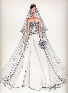 Custom Bridal Illustration by Deborah Griffin.what an AWESOME bridal/anniversary/friend gift! Send her pictures of the bride in the wedding gown and she will recreate the dress onto paper.elegant high style piece of custom artwork. Wedding Dress Sketches, Bridal Gowns, Wedding Dresses, Fashion Figures, Fashion Art, Fashion Design, Wedding Looks, Fashion Sketches, Marie