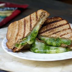 Spinach Pesto and Mozzarella Panini: They are crispy and cheesy and buttery and the spinach pesto seriously puts them over the top.