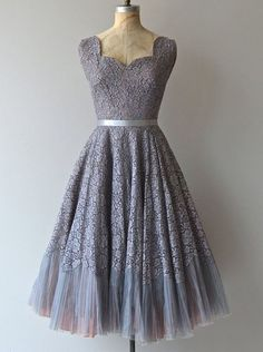 Vintage A-Line Square Neck Knee Length Grey Prom/Homecoming Dress with Sash