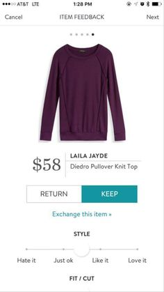 Laila Jayde Diedro Pullover-- Lindsay, I think this would be perfect! Looks comfy, & longer for my torso, and I love this color!