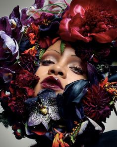"Isamaya Ffrench on Instagram: ""Always my fave face to paint @badgalriri happy birthday 🐟"" Nick Knight Photography, Hottest Female Celebrities, Rihanna Fenty, Rihanna Vogue, Rihanna Fashion, Rihanna Outfits, Floral Headpiece, Alfred Stieglitz, Vogue Magazine"