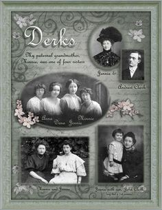 Scrapbooking your family tree - Scrapbook.com  Wonderful inspiration.  If you don't have time to do a whole scrapbook, you could do several pages and frame them.